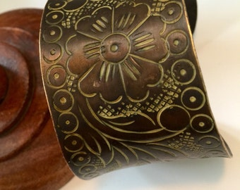 Copper Mixed Metal Floral Cuff Bracelet