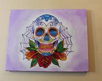 Day of the dead sugar skull tattoo design original art acrilic painting on canvas