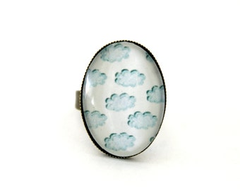"""Ring cabochon glass """"Turquoise clouds"""" bronze brass oval vintage retro"""