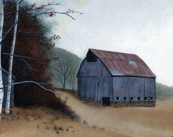 6 Country Barn Note Cards, Fine Art, Stationery, All-Occasion