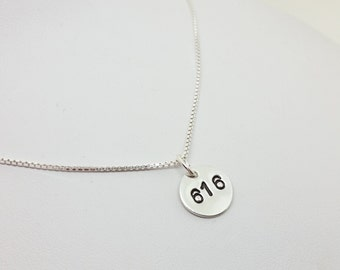Area code necklace, sterling Silver
