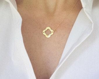 Gold Clover Necklace Gold Quatrefoil Necklace Good Luck Charm Necklace Dainty Necklace Four Leaf Clover Charm Necklace 4 Leaf Clover Pendant