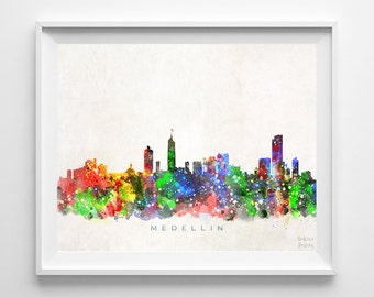 Medellin Skyline Print, Colombia Art, Cityscape, Watercolor Painting, Wall Art, City Skyline, Wall Decor, City Poster, Back To School