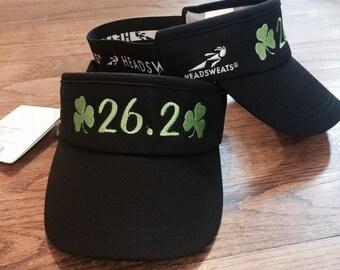 Shamrock Marathon  Shamrock Sports Fest Virginia Beach - Headsweats Black Visor with 26.2 and Shamrocks!! Custom Design