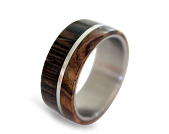 Stainless steel ring with wenge and cocobolo wood inlay off-center style