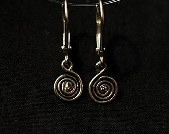 Silver Spiral Diamond Earrings