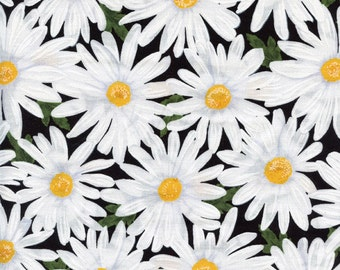 Packed Daisies Timeless Treasures Cotton Fabric C4426 Black, By the Yard