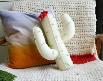 Stuffed Cream Felt Novelty Cactus Throw Pillow With Flower