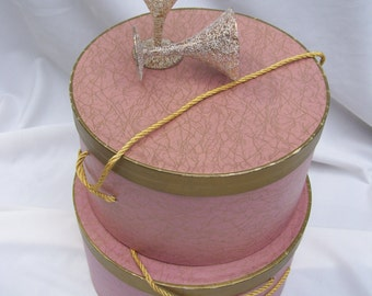 Large Mauve Pink Gold Spattered Hat Box, Mid Century