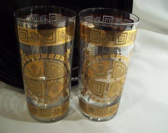 2 Gold Shield Drinking Glassware ,Mid Century Glass,Mad Men,Barware