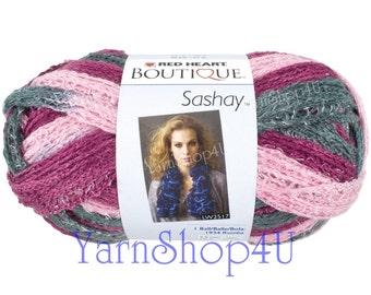 BALLET Boutique Sashay, Red Heart Sashay, Variegated Ruffle Yarn, Pink Purple grey Ruffle Yarn, Ribbon yarn, Fluffy scarf yarn, Multi color