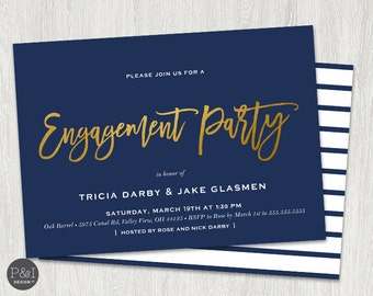 Gold Foil Engagement Party Invitation/ DIY/ Customized Printable