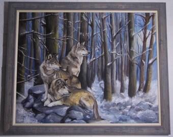 Sentinels - Wolves Original huge oil portrait artist painting. Professionally framed