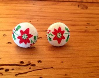 Ready to Ship, Poinsettia Button Earrings, Fabric Covered Buttons,Fabric Covered Button Post Earrings,Red Poinsettia Christmas Stud Earrings