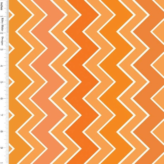 Orange Chevron Fabric, Riley Blake C780-14 Shaded Chevron Medium ...