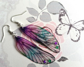 Magical Purple & Green Fairy Wing Earrings