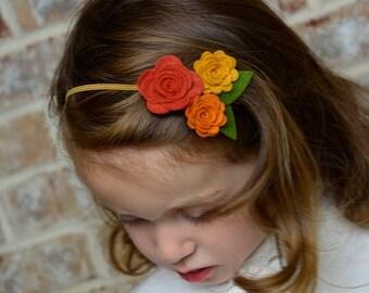 Fall Trio Flowers Headband