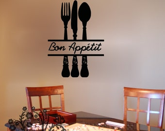 Bon Appetit - Wall Decals - Wall Vinyl - Wall Decor - Kitchen wall decal - Kitchen wall vinyl saying - Kitchen decor saying