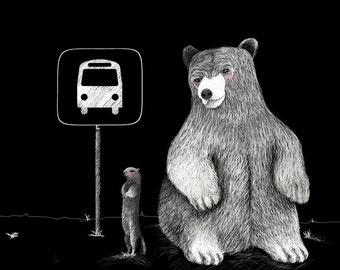 Bear and squirrel waiting for the bus. Fine Art Print