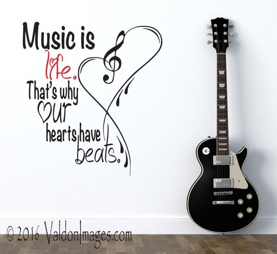 Music is life music quote wall decor music notes music