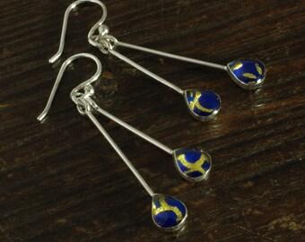 Silver Drop Earrings - Blue/Gold