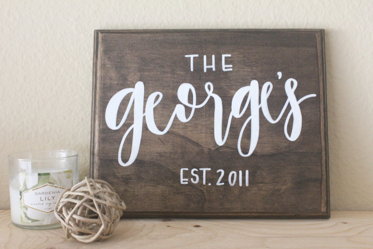 hand lettered calligraphy wood sign // family date EST.