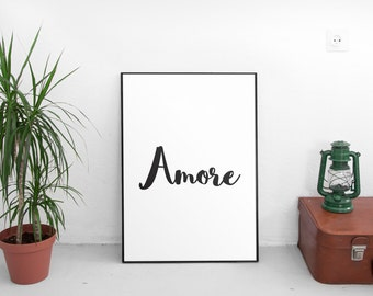 Printable Quotes, Amore, Printable Art, Wall Art, Motivational Print, Motivational Poster, Home Decor, Typography Art
