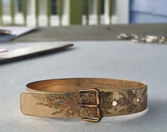 Victorian Buckle Bracelet / Antique Gold Filled Buckle Bracelet