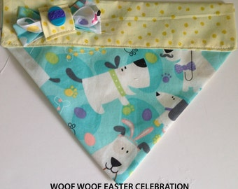 """Over The Collar Easter Dog Bandana With Bow Tie or Ribbon Bow-""""Woof Woof Easter Celebration"""""""