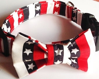 Patriotic Bow Tie Collar with Stars and Stripes for Dogs and Cats