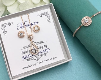 Rose Gold Bridesmaid Jewelry Gift Set, Bridesmaid Necklace Set, Bridesmaid Jewelry Gift, bridesmaid jewelry set, jewelry set 468614338