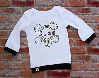 Modern Baby Shirt / Infant lap tee / Infant Shirt / Trendy Baby / Monochrome Baby / Infant Skull Shirt / Infant Punk Clothing