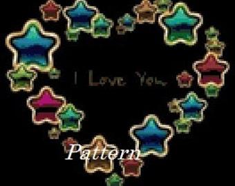 Star Heart. (I love you). Cross Stitch Pattern. PDF Files.