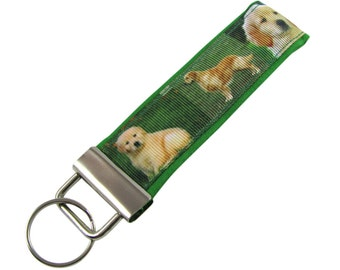 Personalized Key Chain / Key Fob Golden Retriever Dogs With Optional Initials