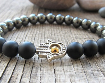 Hamsa bracelet Good Luck bracelet Hematite bracelet Protection bracelet Healing bracelet Mens jewellery Matte Black Bracelet for men