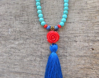 Tassel necklace Long statement necklace Turquoise necklace Beaded necklace Bohemian necklace Boho Long Necklace Summer jewellery Girls gift