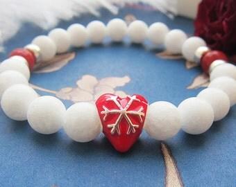 Valentines gifts for girlfriend bracelets for girls Stretched bracelet Red Heart bracelets Be my valentine Gemstone bracelets White bracelet