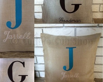 Personalized Throw Pillow Cover: Initial Throw Pillow Cover With Name