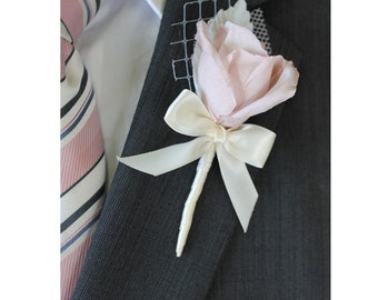 Wedding  Boutonniere Grooms Boutonniere Groomsman Boutonniere Mens Wedding Boutonniere Silk Boutonniere Wedding  Blush Boutonniere