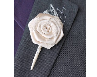 Wedding Boutonniere Grooms Boutonniere Groomsmen Boutonniere Mens Wedding Boutonniere  Boutonniere Wedding Accessories Ivory Boutonniere