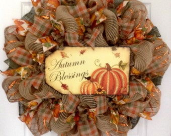 Autumn Blessings Fall Wreath Handmade Deco Mesh