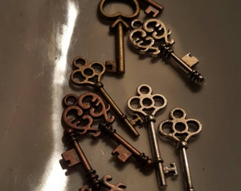 An Assortment of Key Charms or Pendants-they are an inch long 8pcs