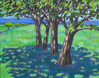 """Summer Day. Acrylic painting on canvas  30cm x 30cm (approx.12""""x12""""), landscape painting"""