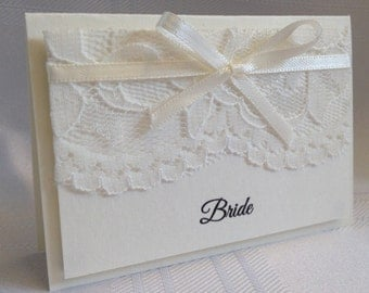 10 x Personalised Handmade Lace Guest Placecards - Many Colours