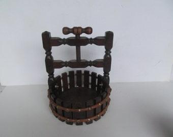 Vintage Wood Well - Basket - Table Display -