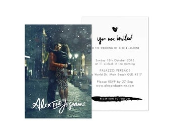 Photo Wedding Invitation Template Invites Digital Download
