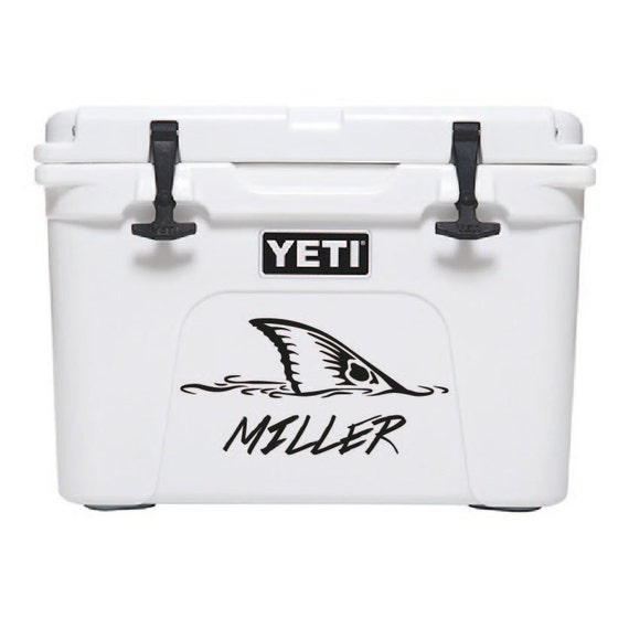 35qt yeti cooler fishing decal custom text by for Fishing yeti decal
