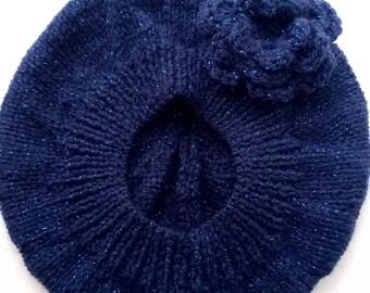 Baby Girls Hand Knitted Beret with Crochet Flower Dark Blue Sparkle Yarn 6-12 months