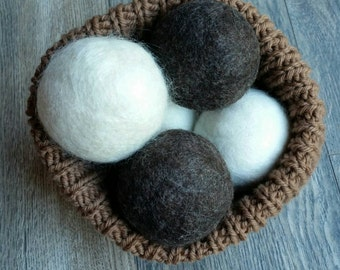 eco friendly wool dryer balls, LARGE undyed natural wool dryer balls, no dyes, Made in Canada felted wool dryer balls SET OF 4