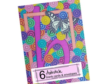 Monogram B Cards - Butterfly Note Cards - Alphabet Letter B - Gift For Her - Pink Blank Cards - Thank You Cards - Hostess Gift - Kids Cards
